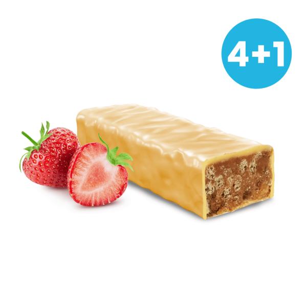Jahodové tyčinky v bielej čokoláde 4+1 ZADARMO NutriFood Keto